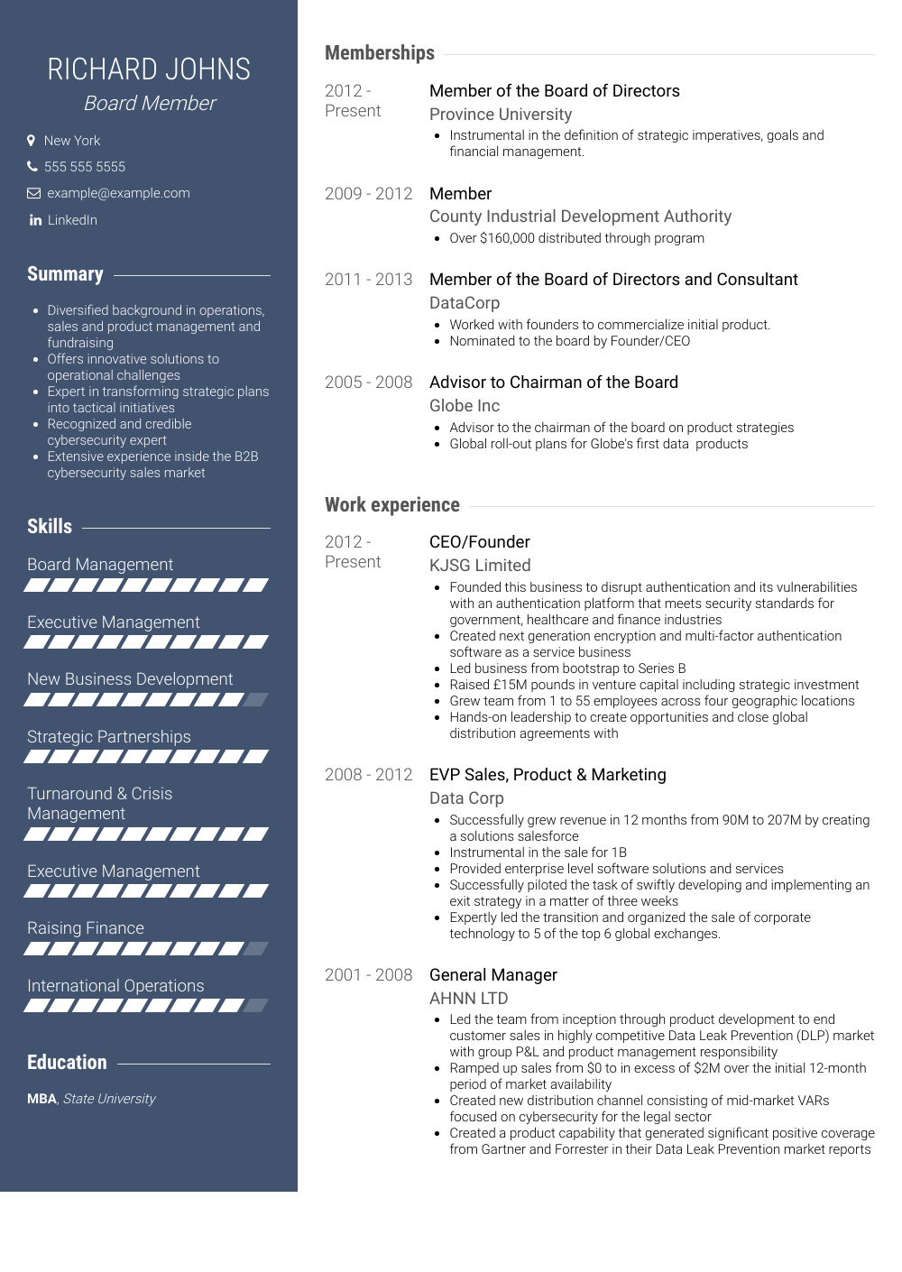 Board Member Resume Sample