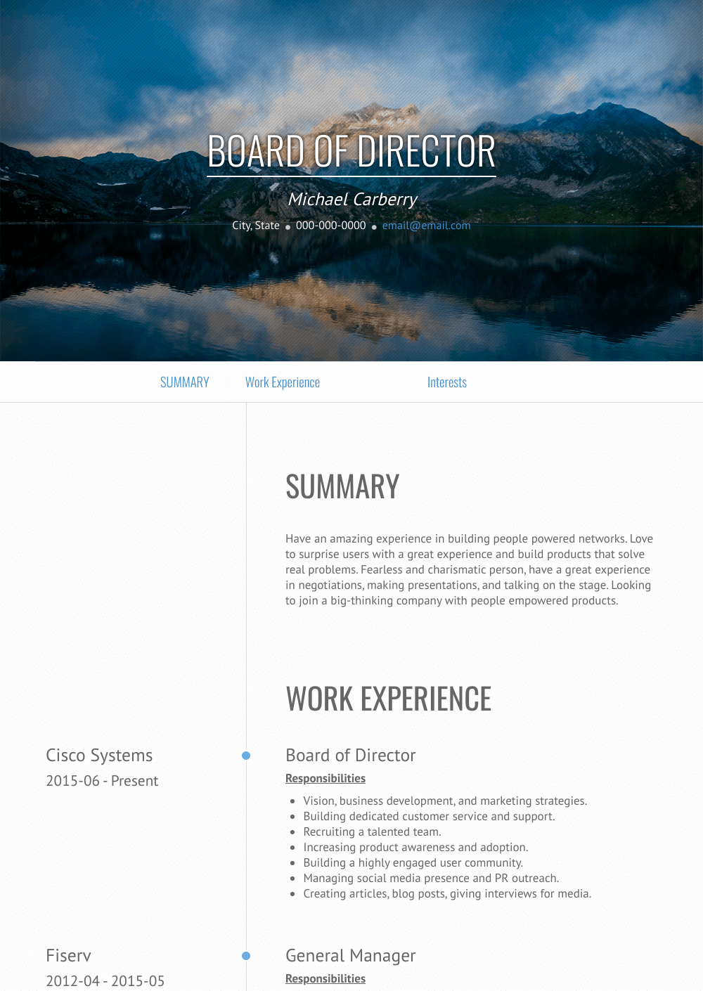 Board Of Directors Resume Sample and Template