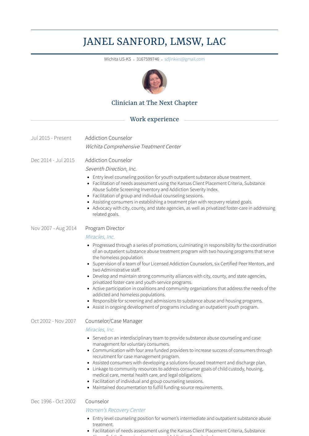 sample youth program director