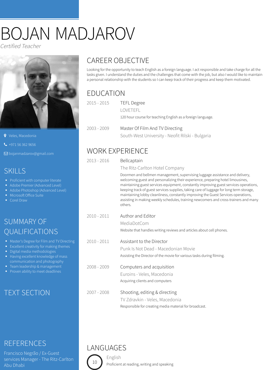 Captain Resume Sample