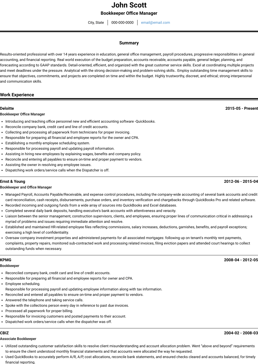 Bookkeeper Office Manager Resume Sample and Template