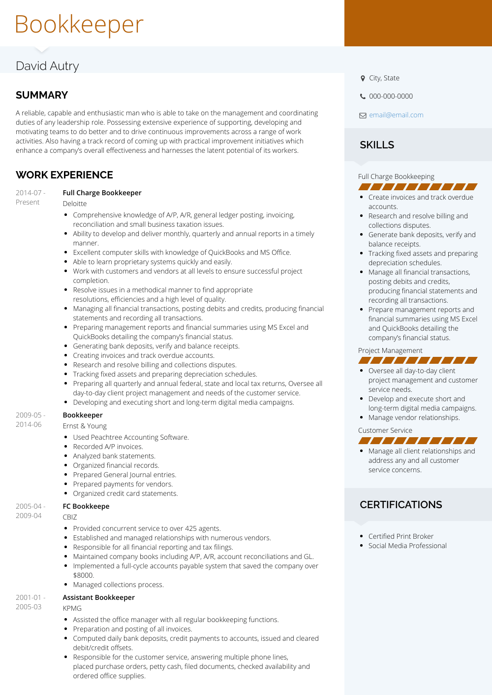 Full Charge Bookkeeper Resume Sample and Template