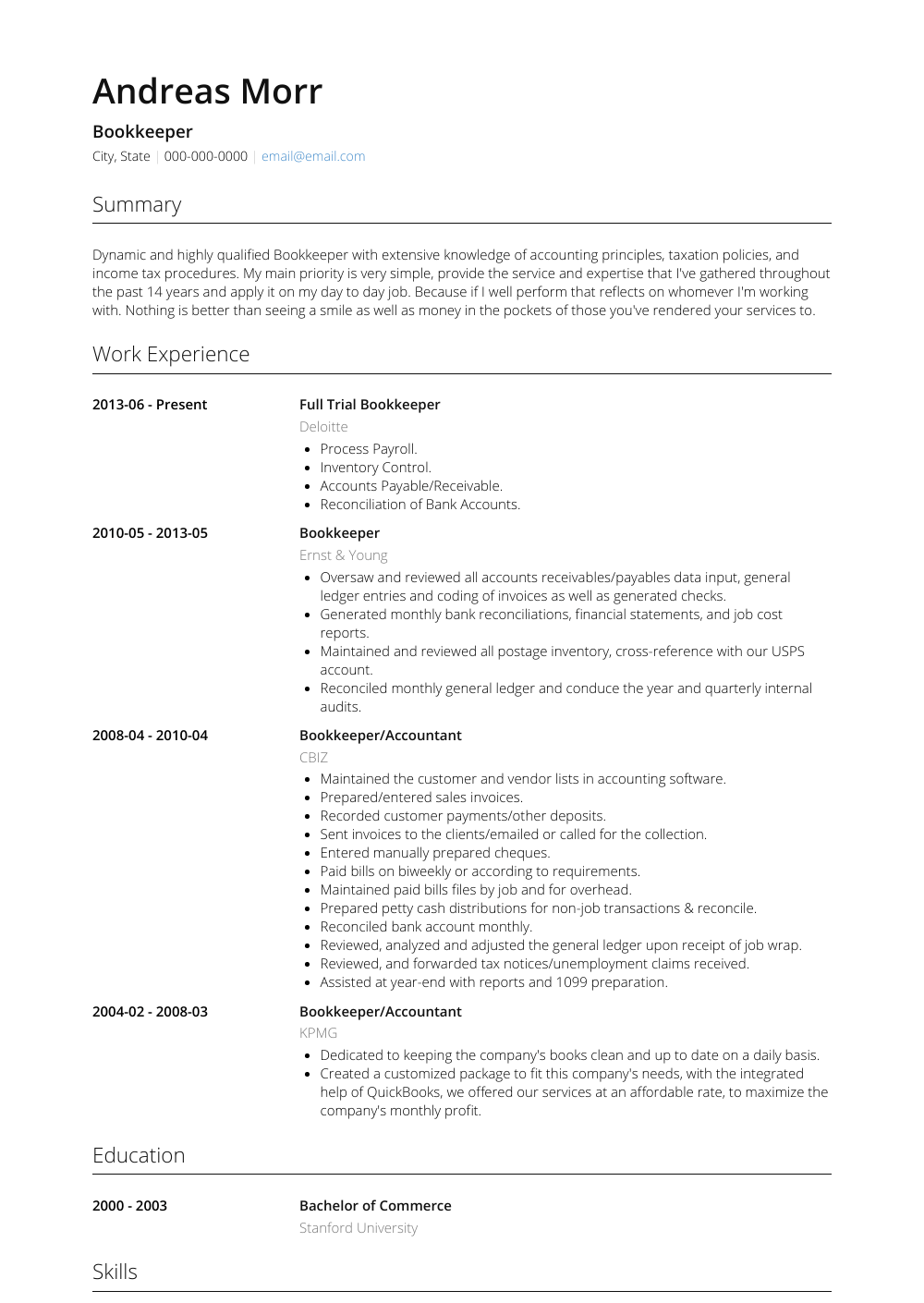 Bookkeeper Resume Sample and Template