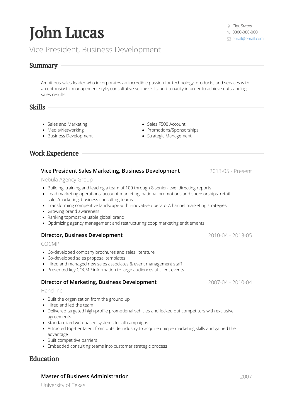 Business Development  Resume Samples