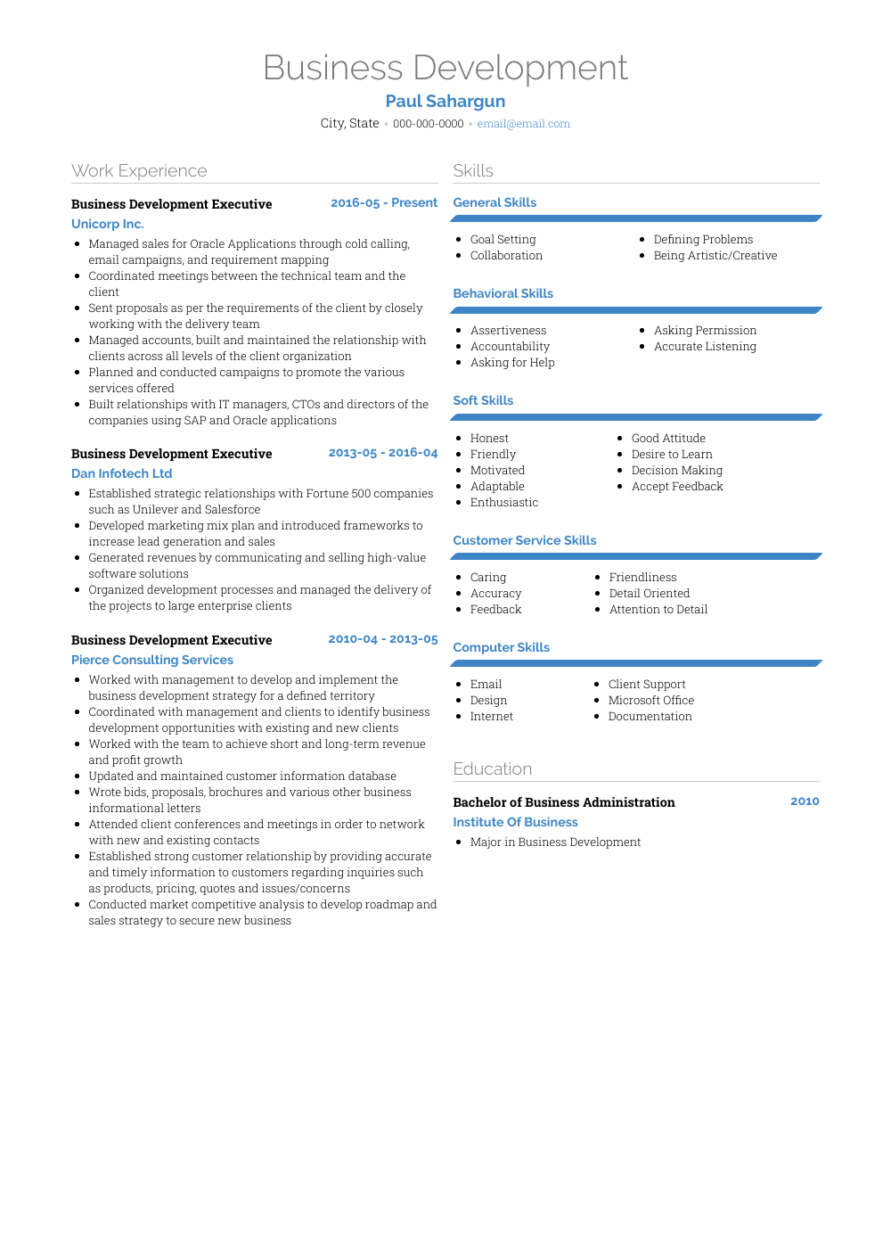 Business Development Resume Sample and Template