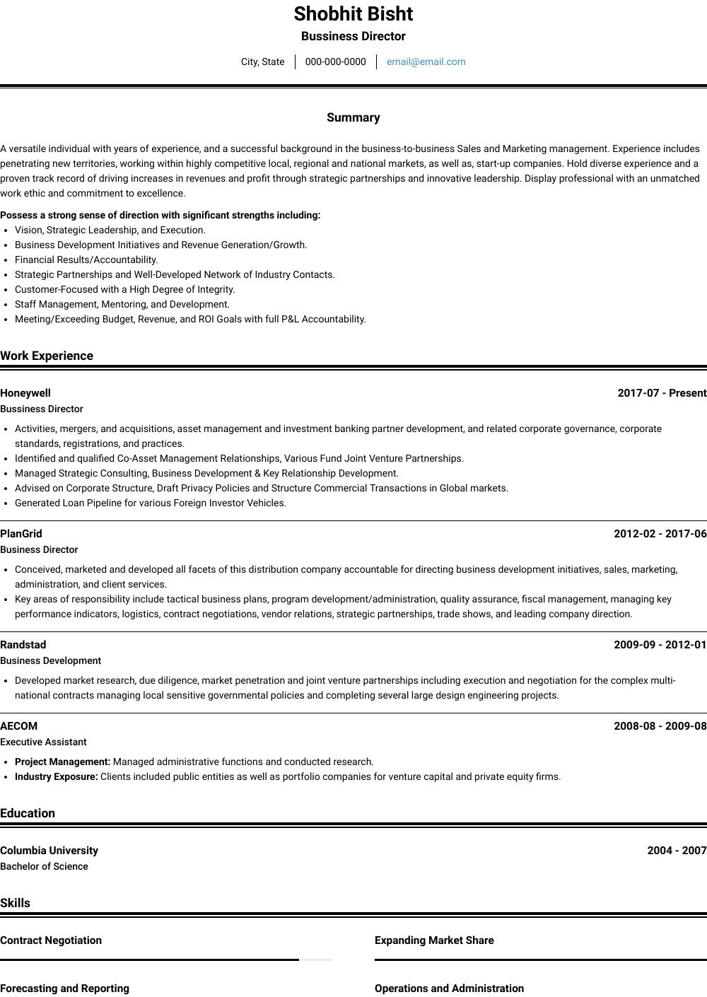 Business Director - Resume Samples & Templates | VisualCV