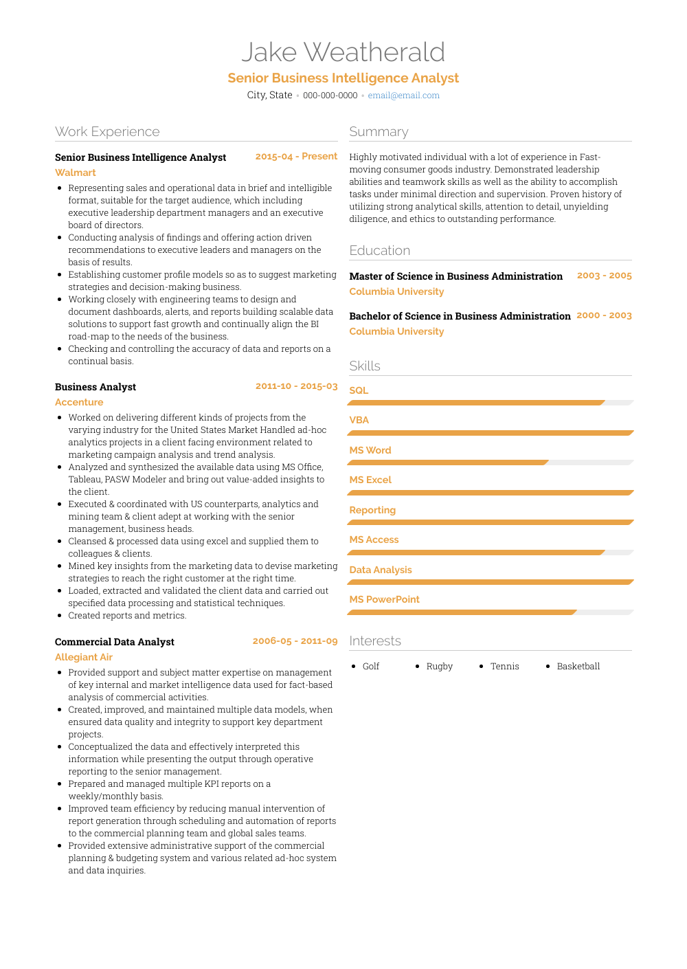 Business Intelligence Analyst - Resume Samples and Templates ...