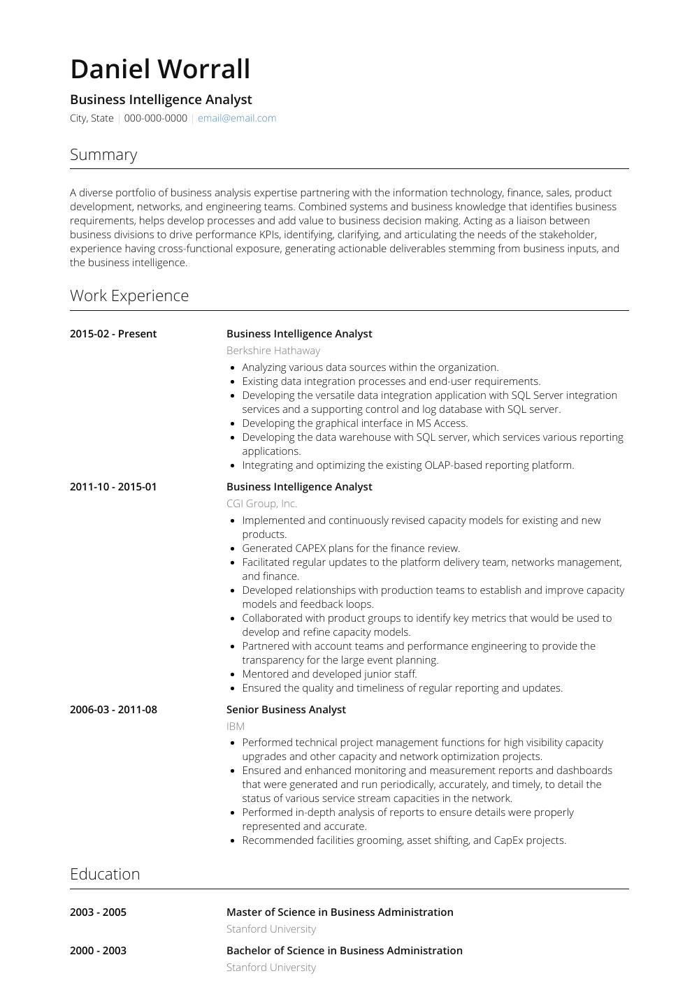 Business Intelligence Analyst