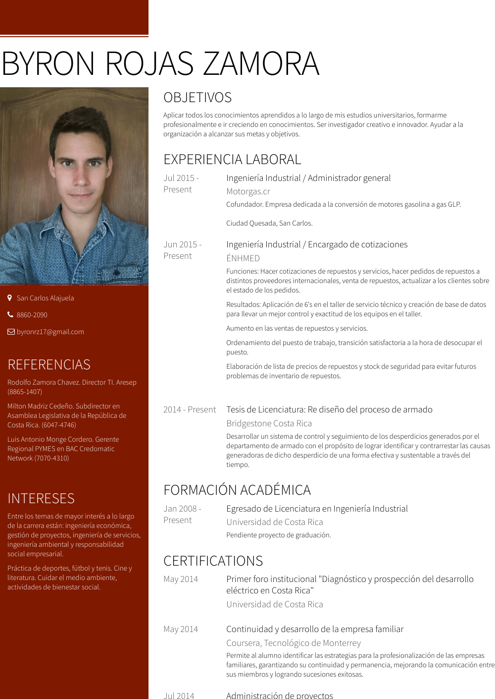 Administrador Resume Sample