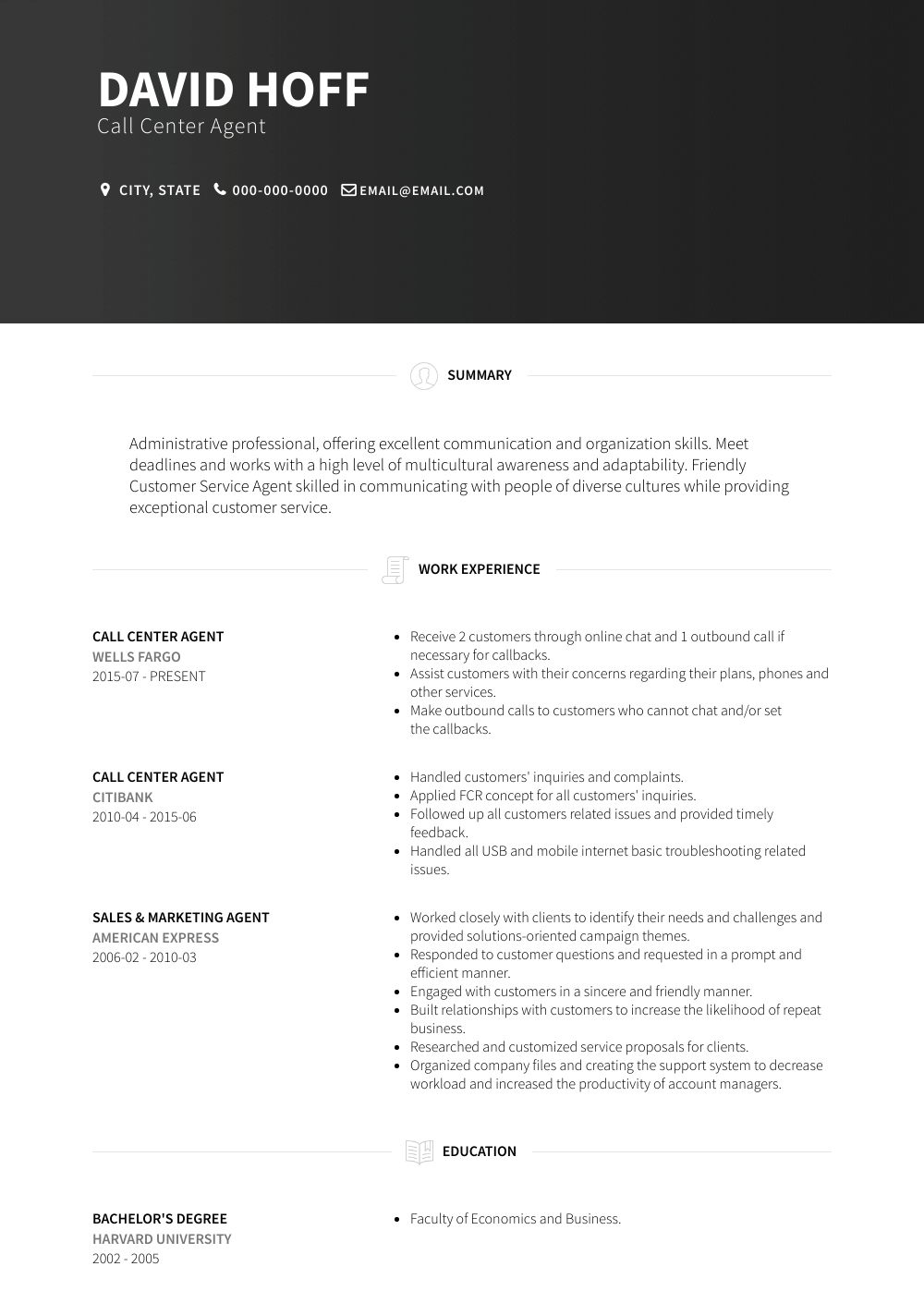 Call Center Agent Resume Sample