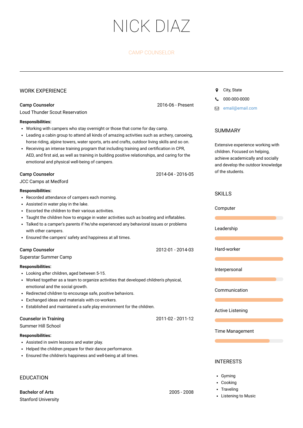 Camp Counselor Resume Sample and Template