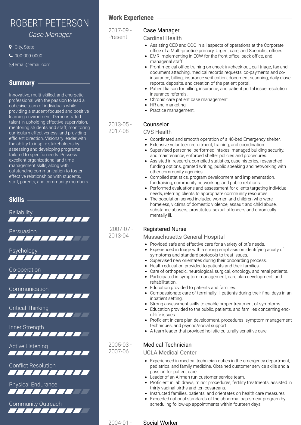 Case Manager Resume Sample and Template