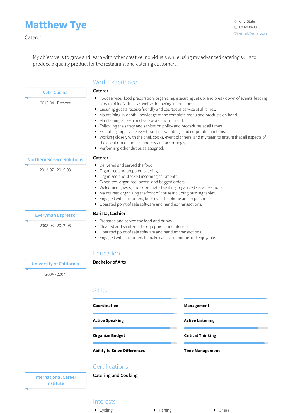 Caterer Resume Sample