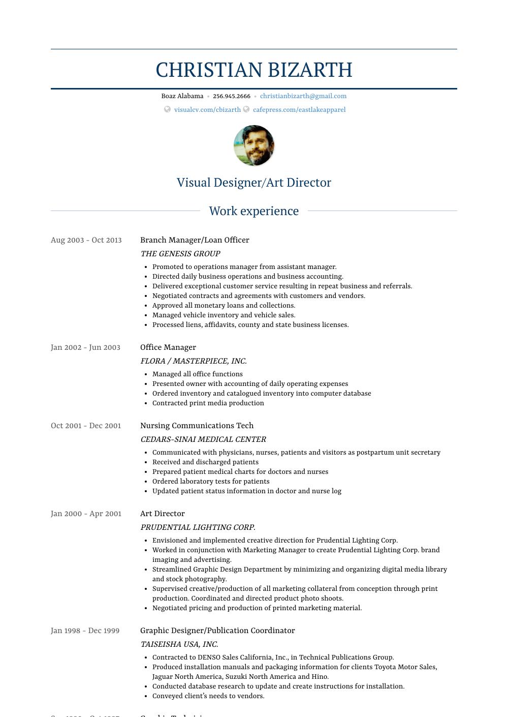 Branch Manager - Resume Samples & Templates | VisualCV