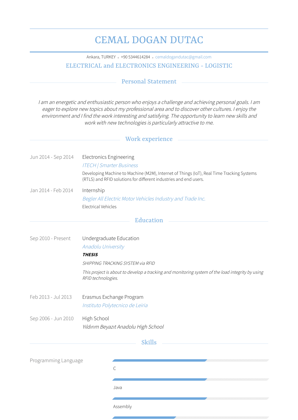 Electronics Engineer - Resume Samples and Templates | VisualCV