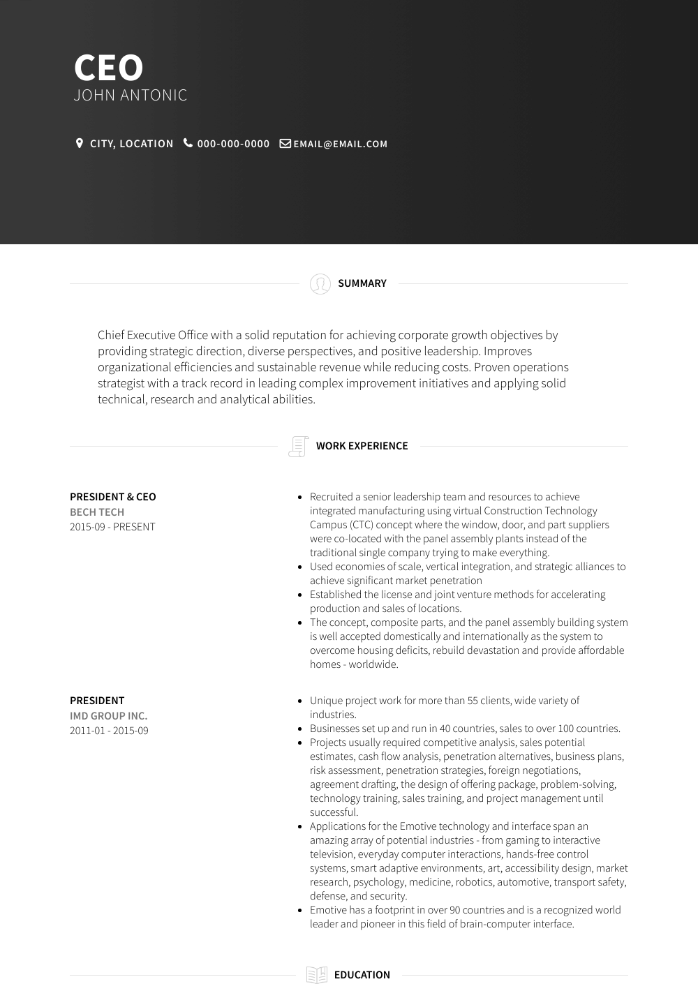 CEO Resume Sample and Template