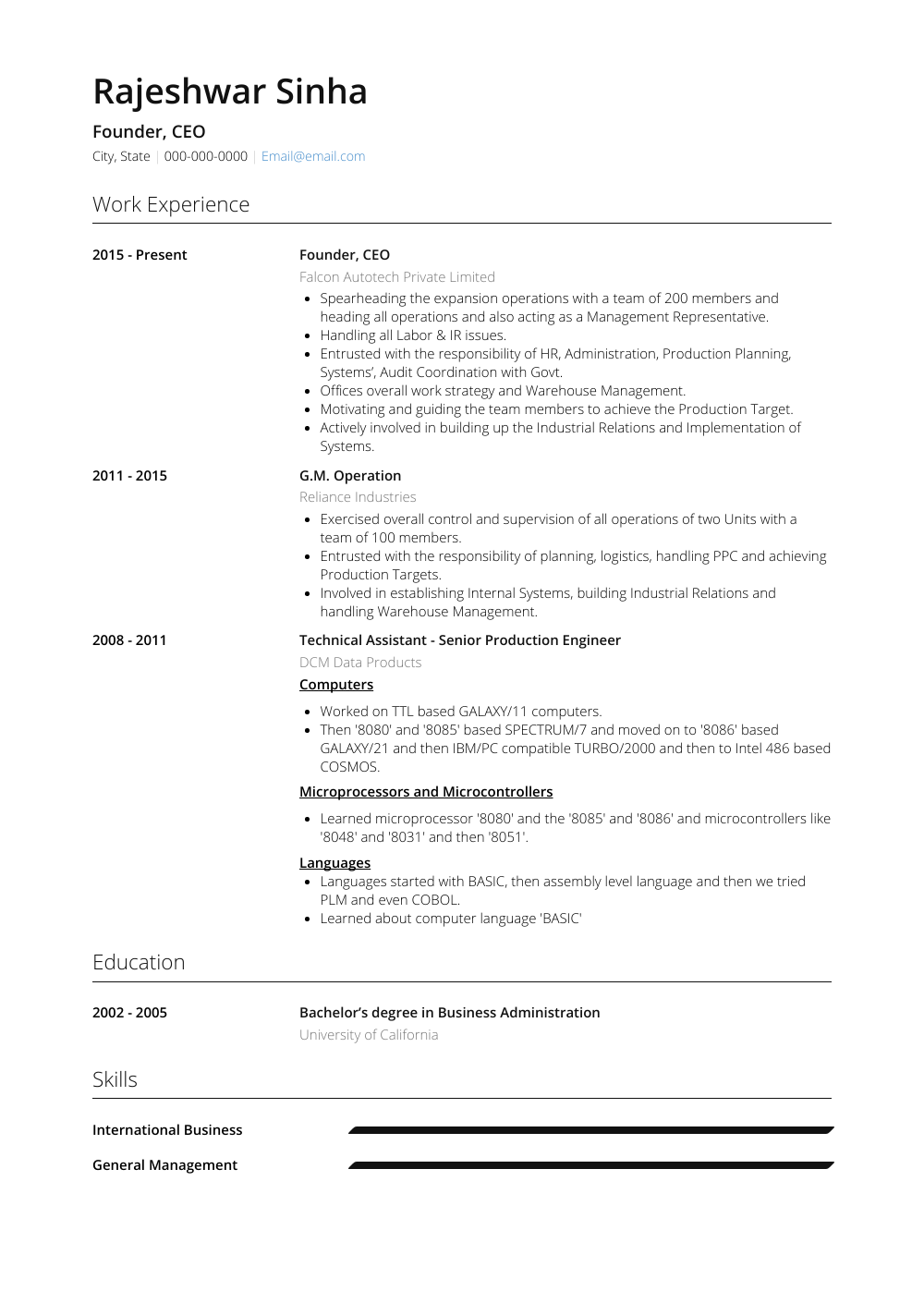 Ceo - Resume Samples & Templates | VisualCV