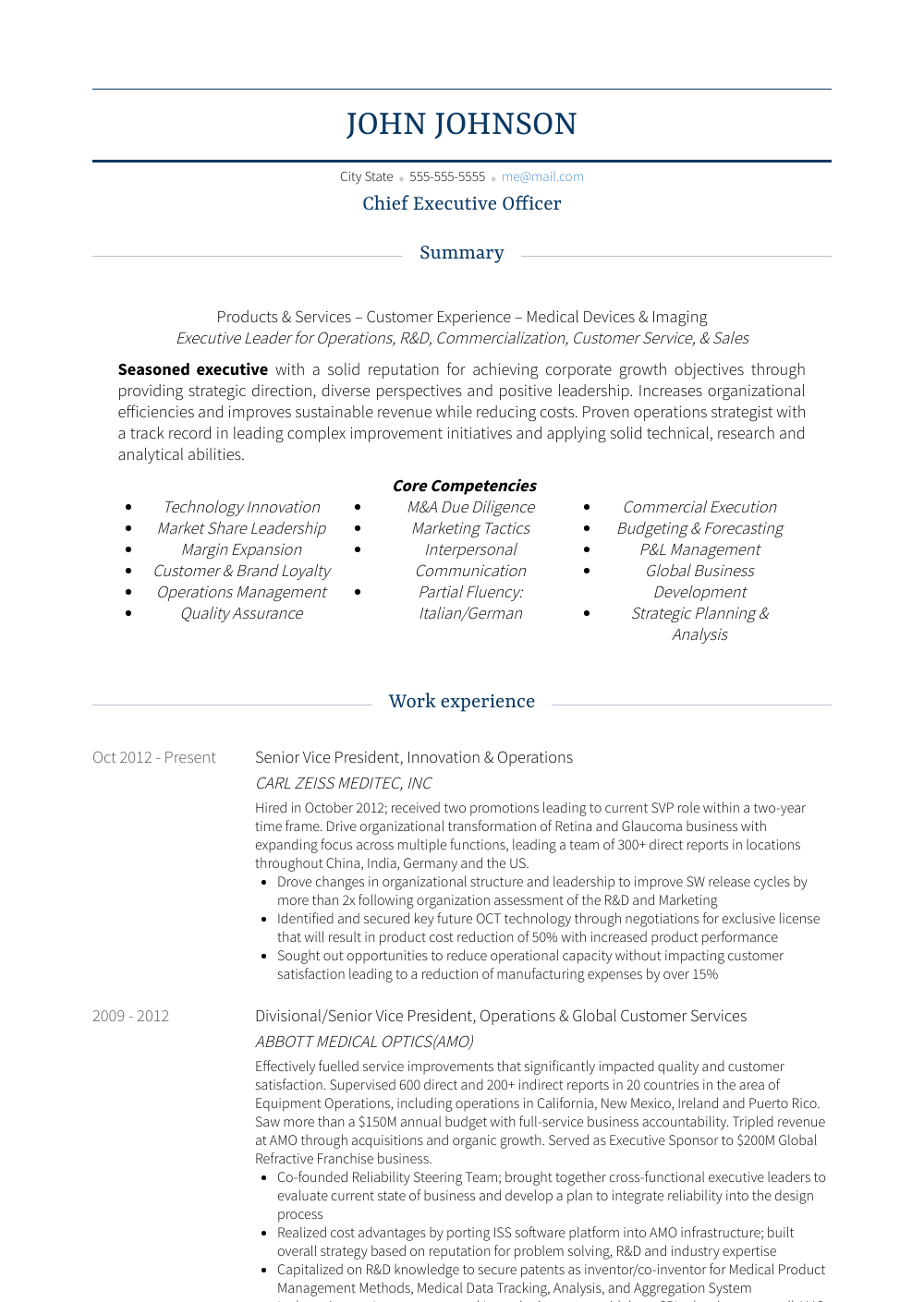 Chief Executive Officer Resume Sample and Template