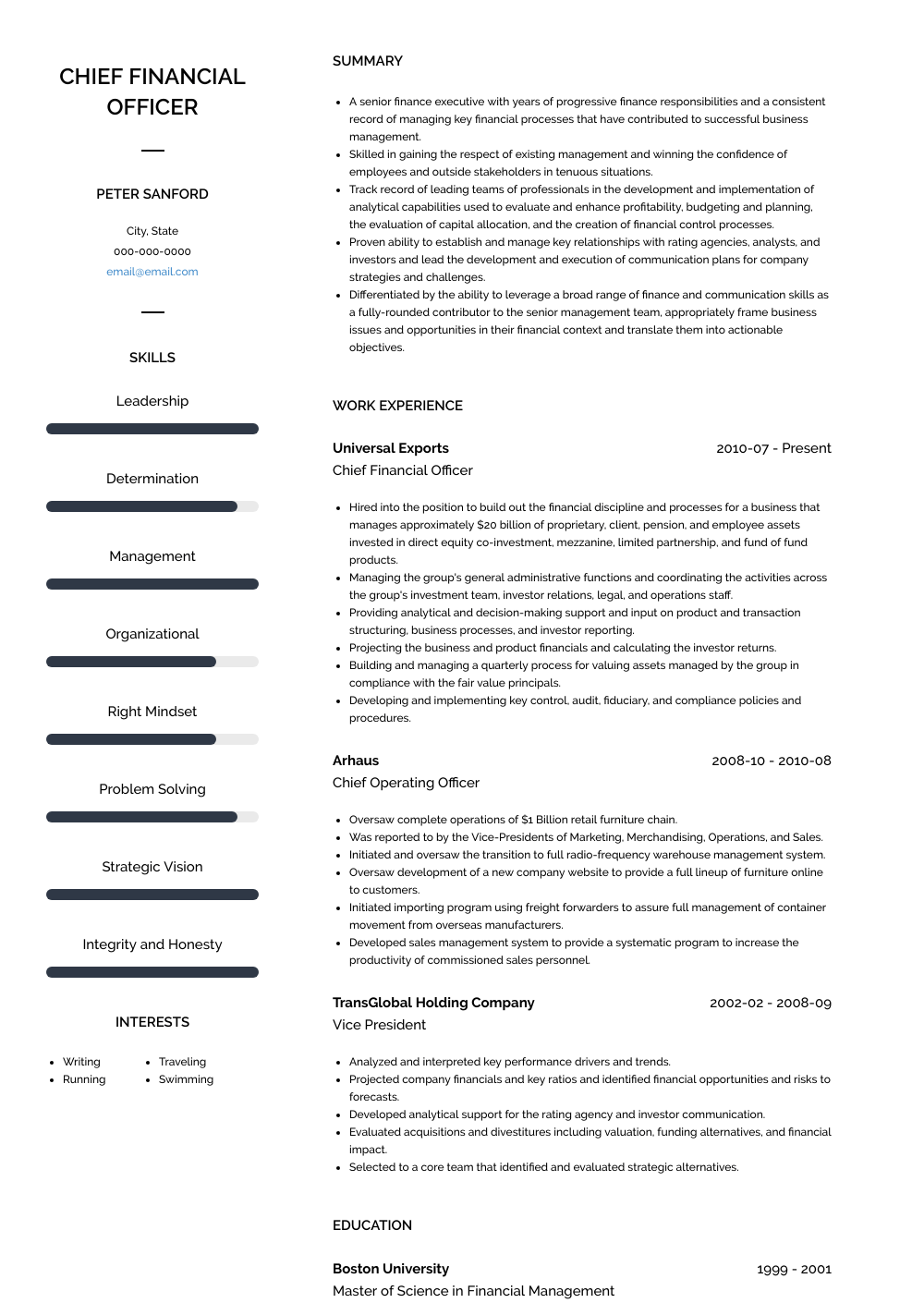 Chief Financial Officer Resume Sample and Template