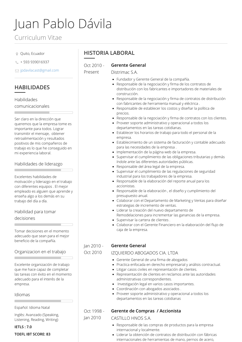 Gerente General Resume Samples Templates Visualcv