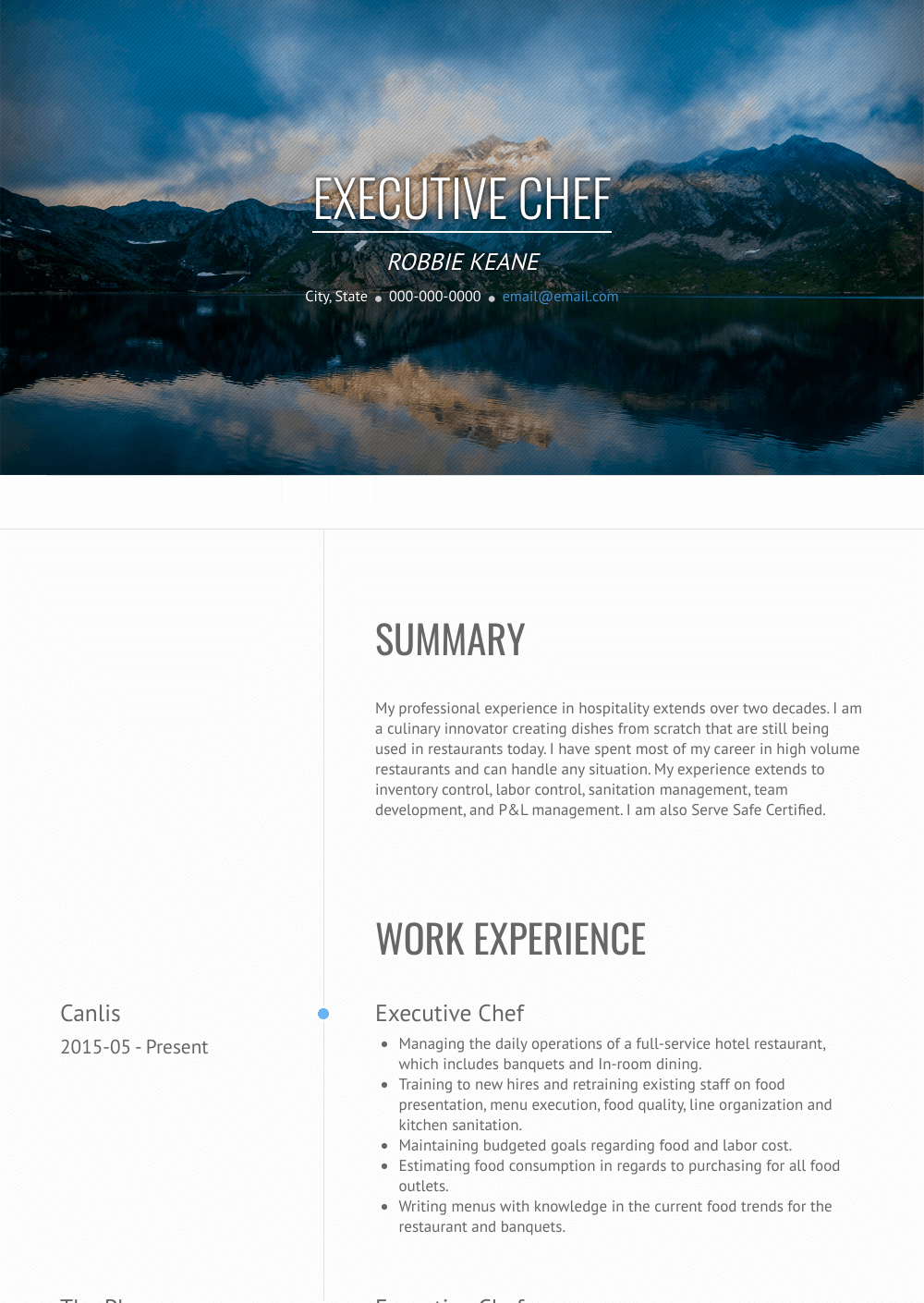 Chef - Resume Samples & Templates | VisualCV