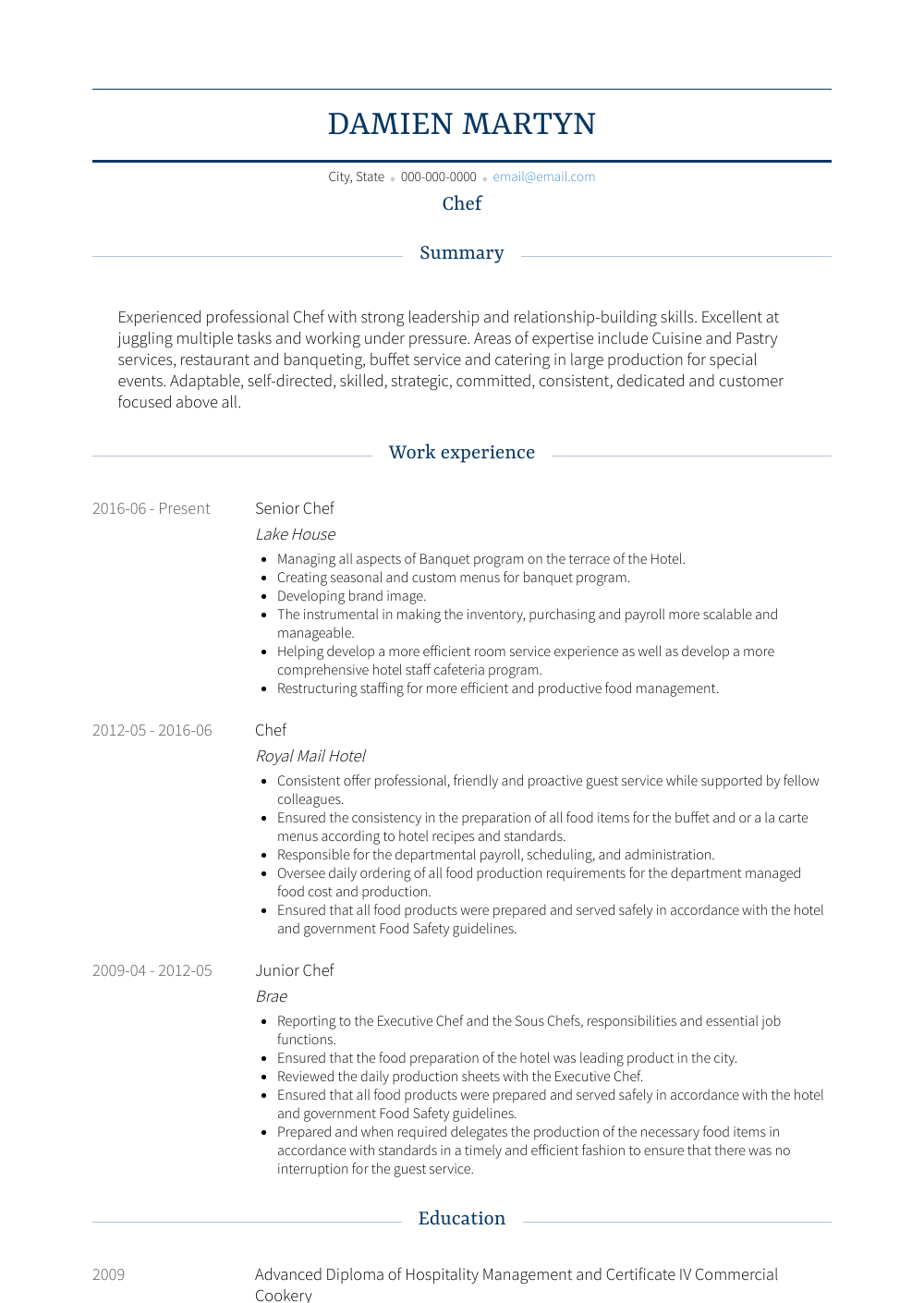 Chef Resume Sample and Template