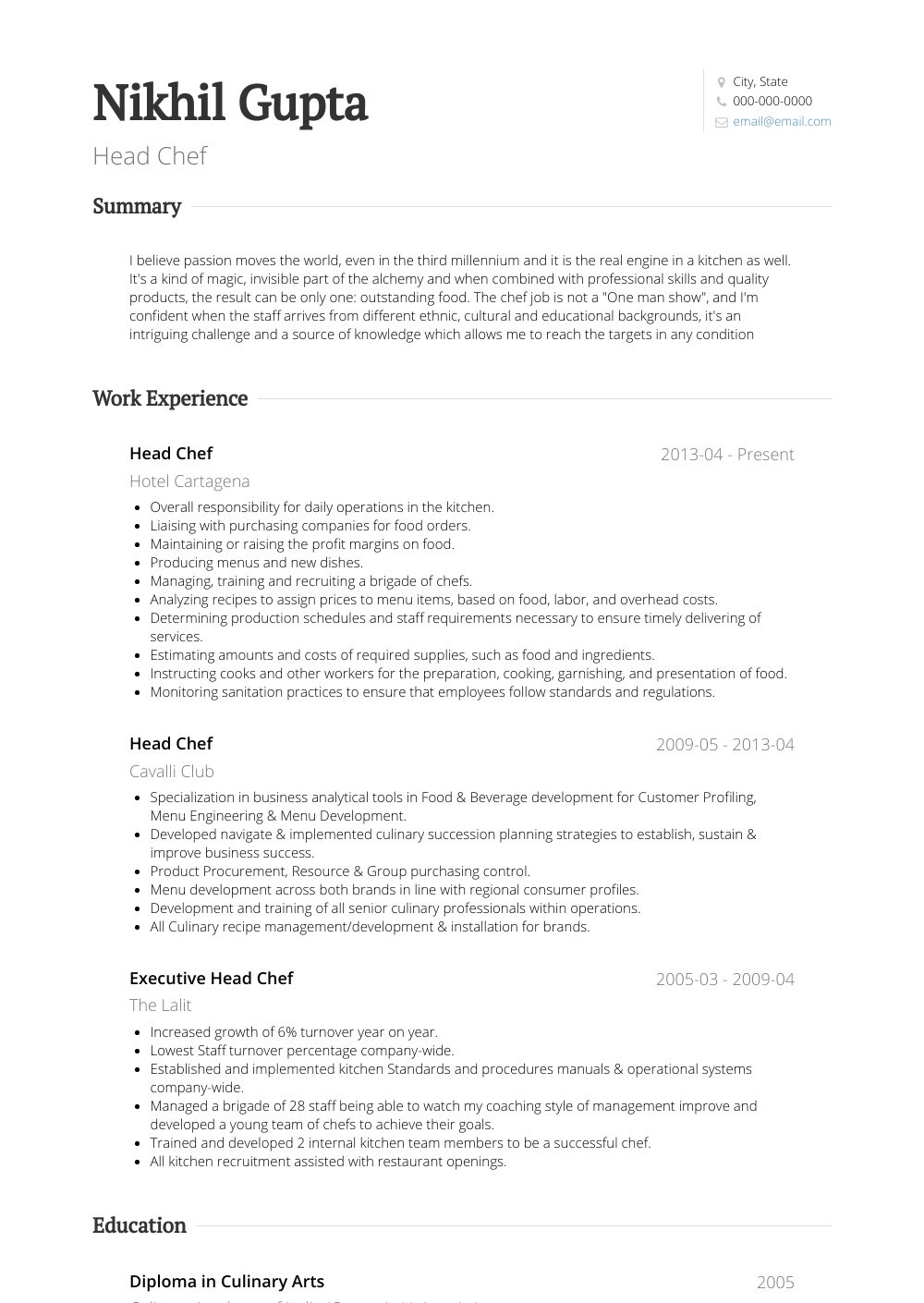 Head Chef Resume Sample and Template