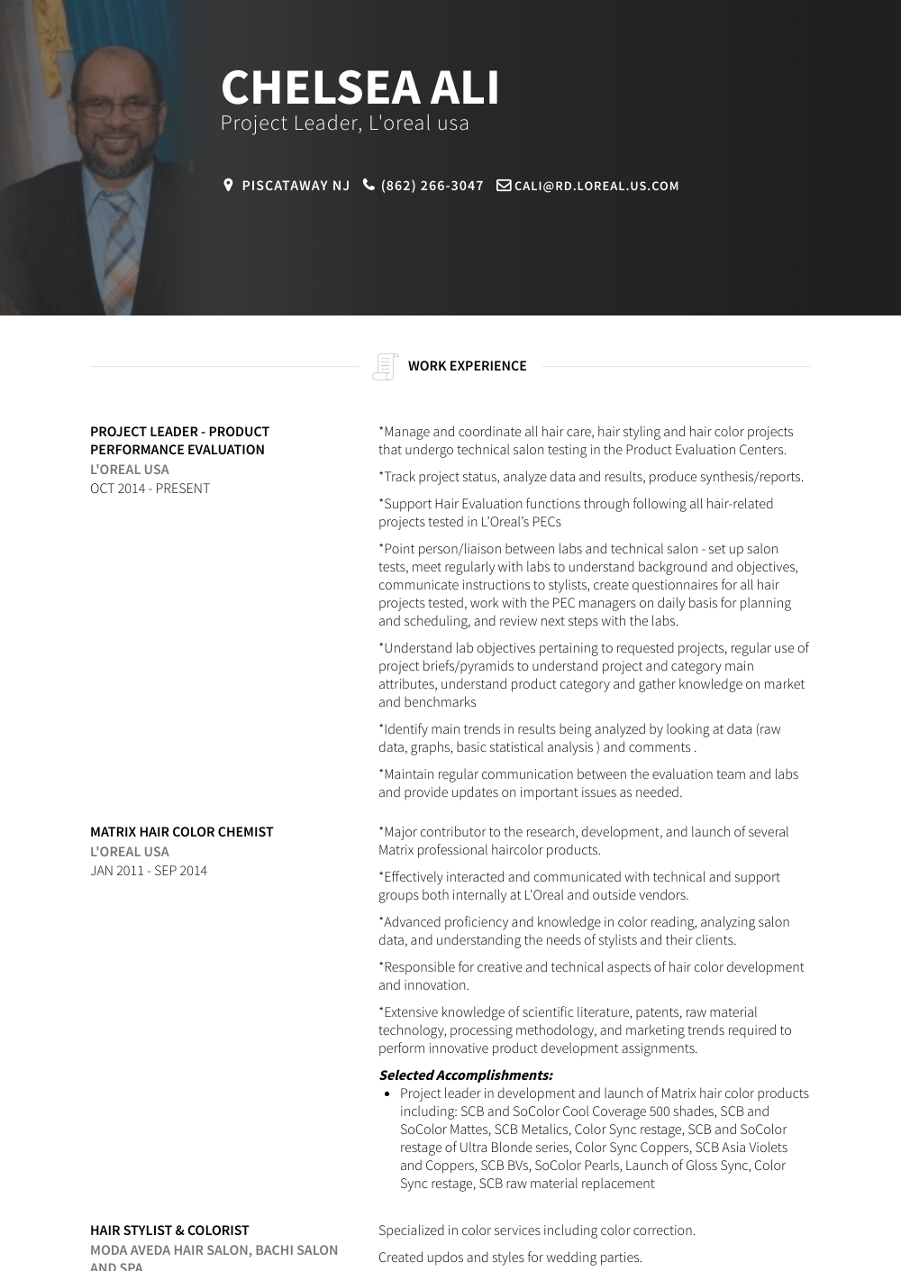 Project Leader Resume Sample