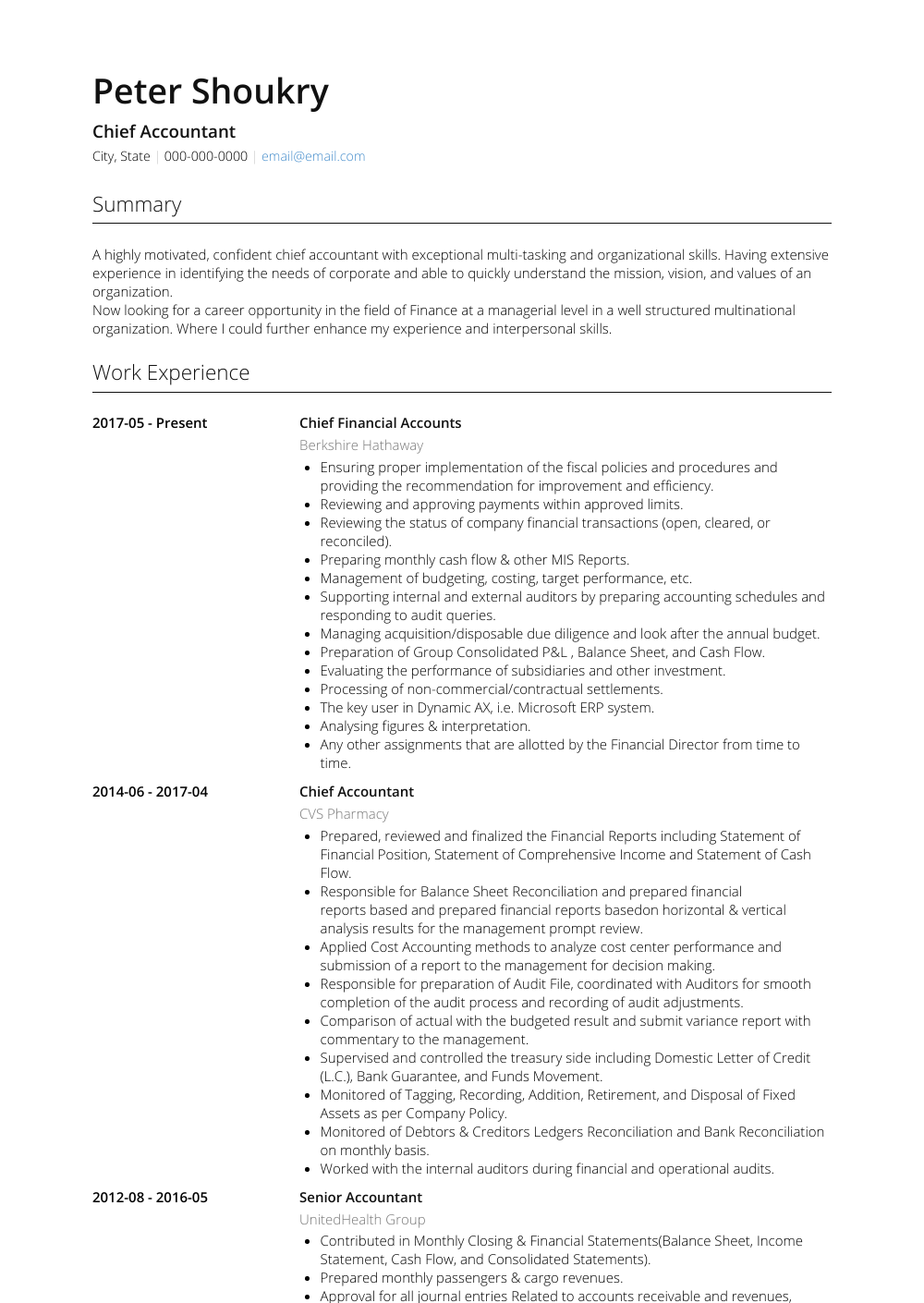 Chief Accountant Resume Sample and Template
