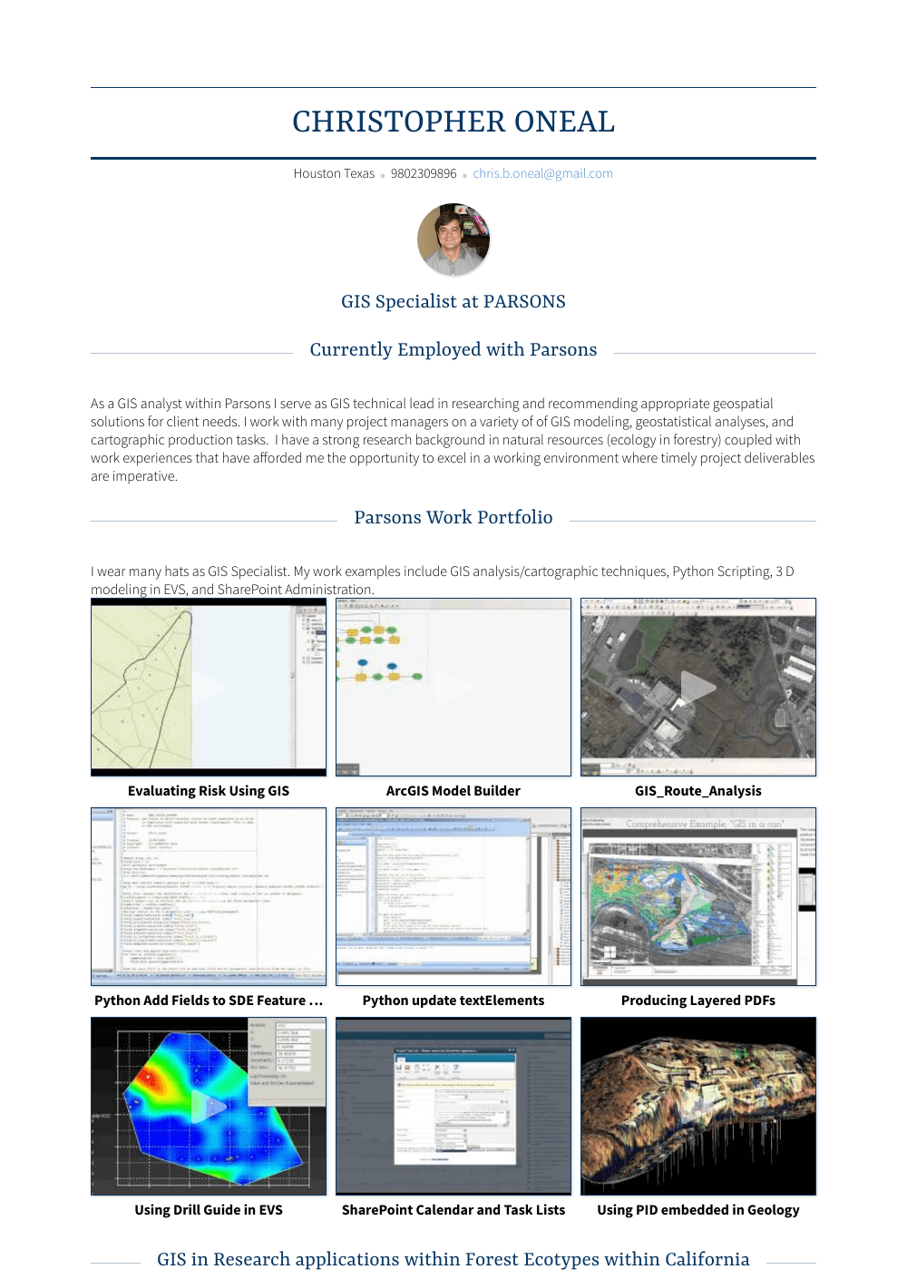 Gis Specialist - Resume Samples & Templates | VisualCV