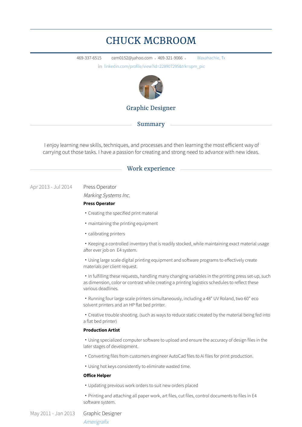 Press Operator Resume Sample