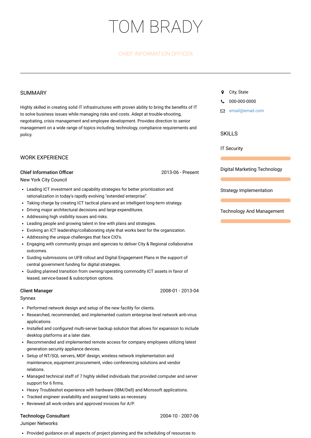 Chief Information Officer Resume Sample and Template