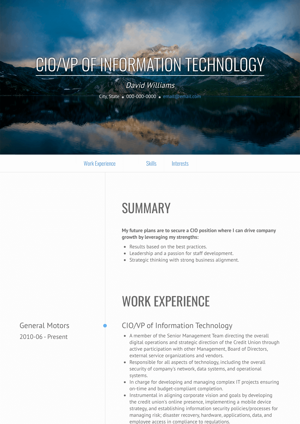 Cio  Resume Samples and Templates   VisualCV