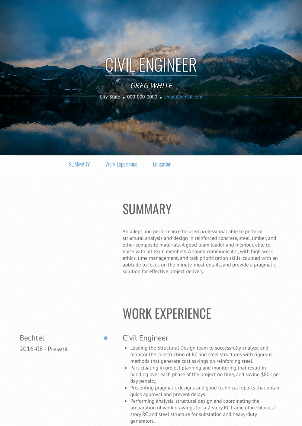 Civil Engineer Resume Samples Templates Visualcv