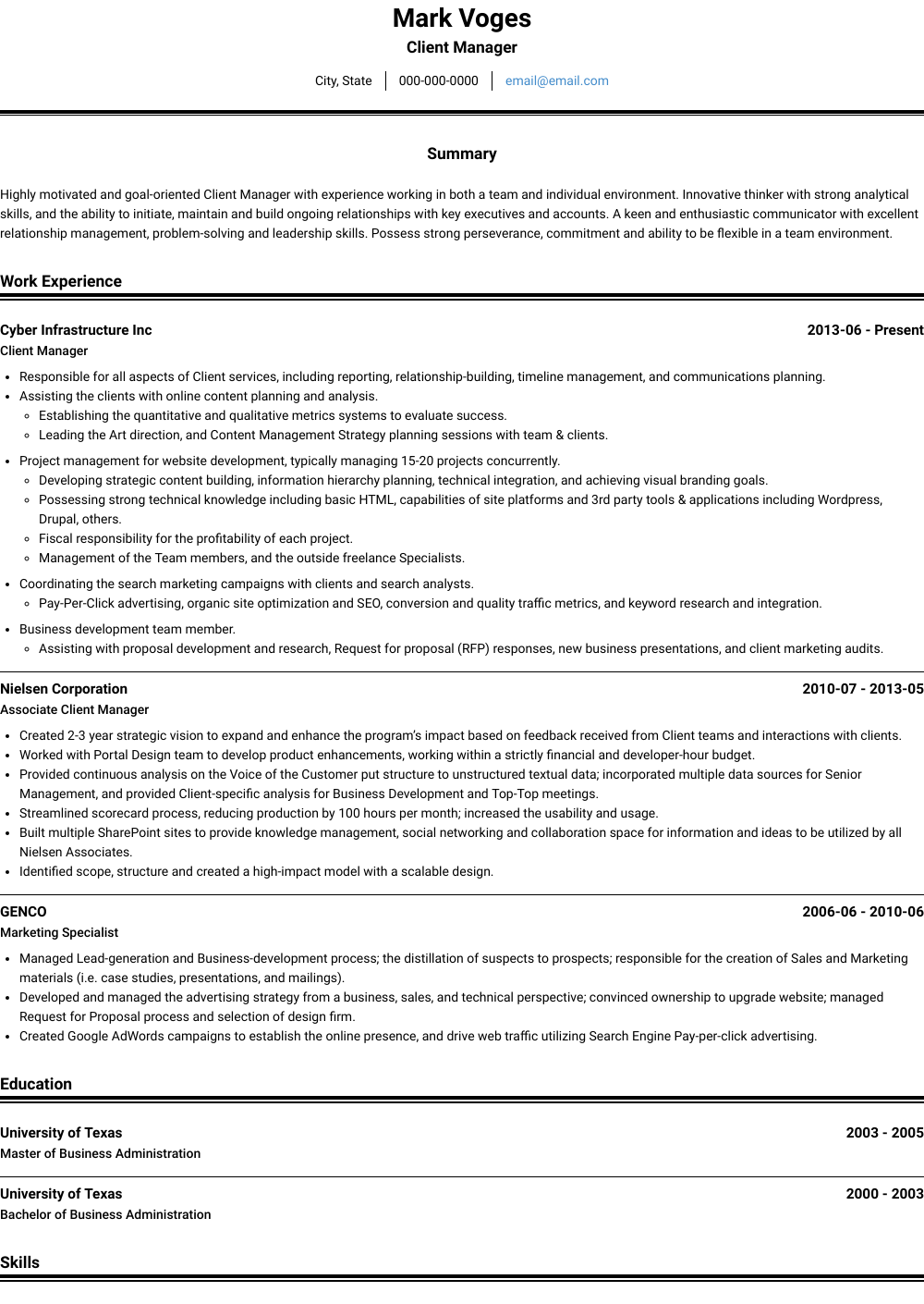 Client Manager Resume Sample