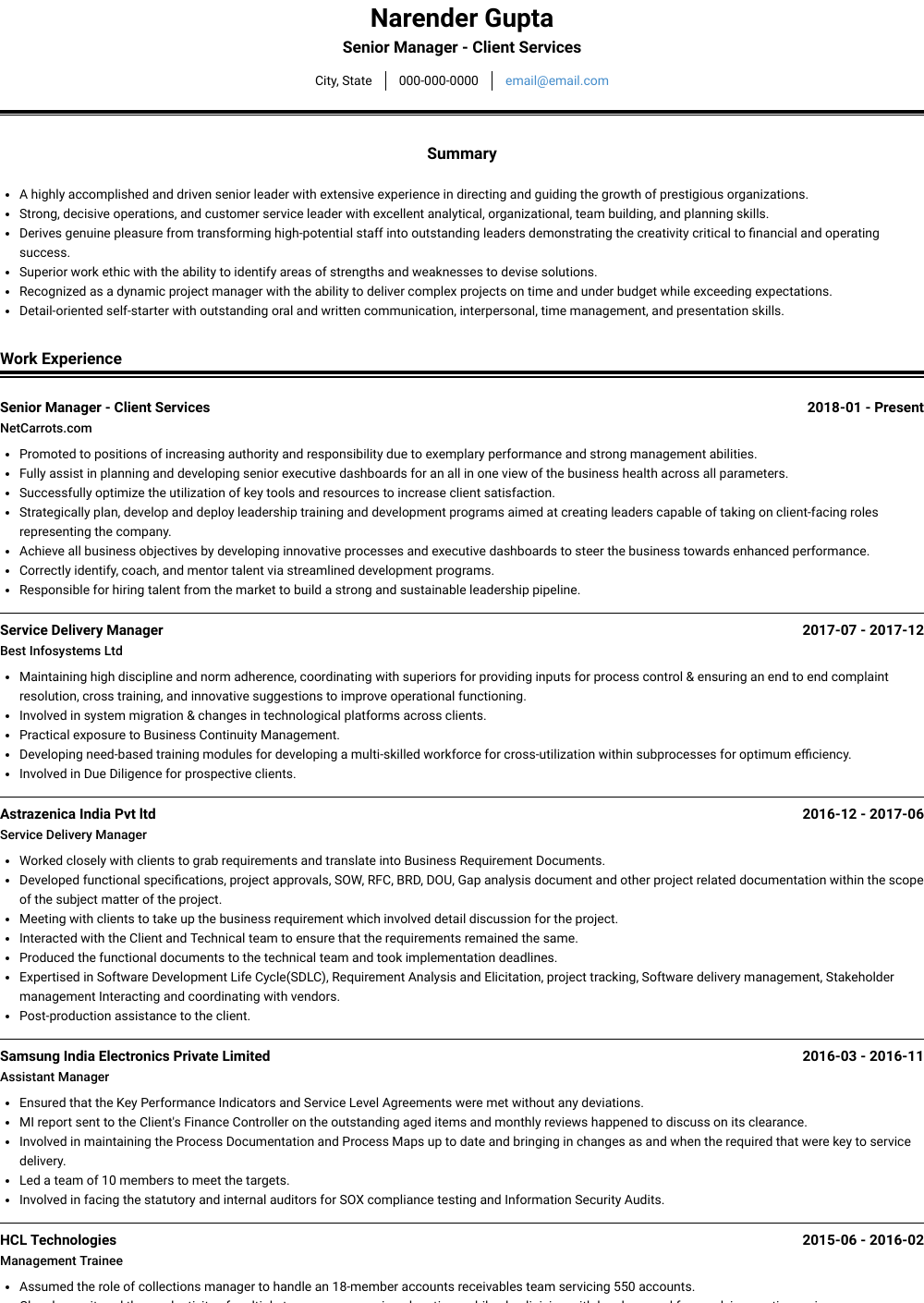 Senior Manager - Client Services Resume Sample and Template