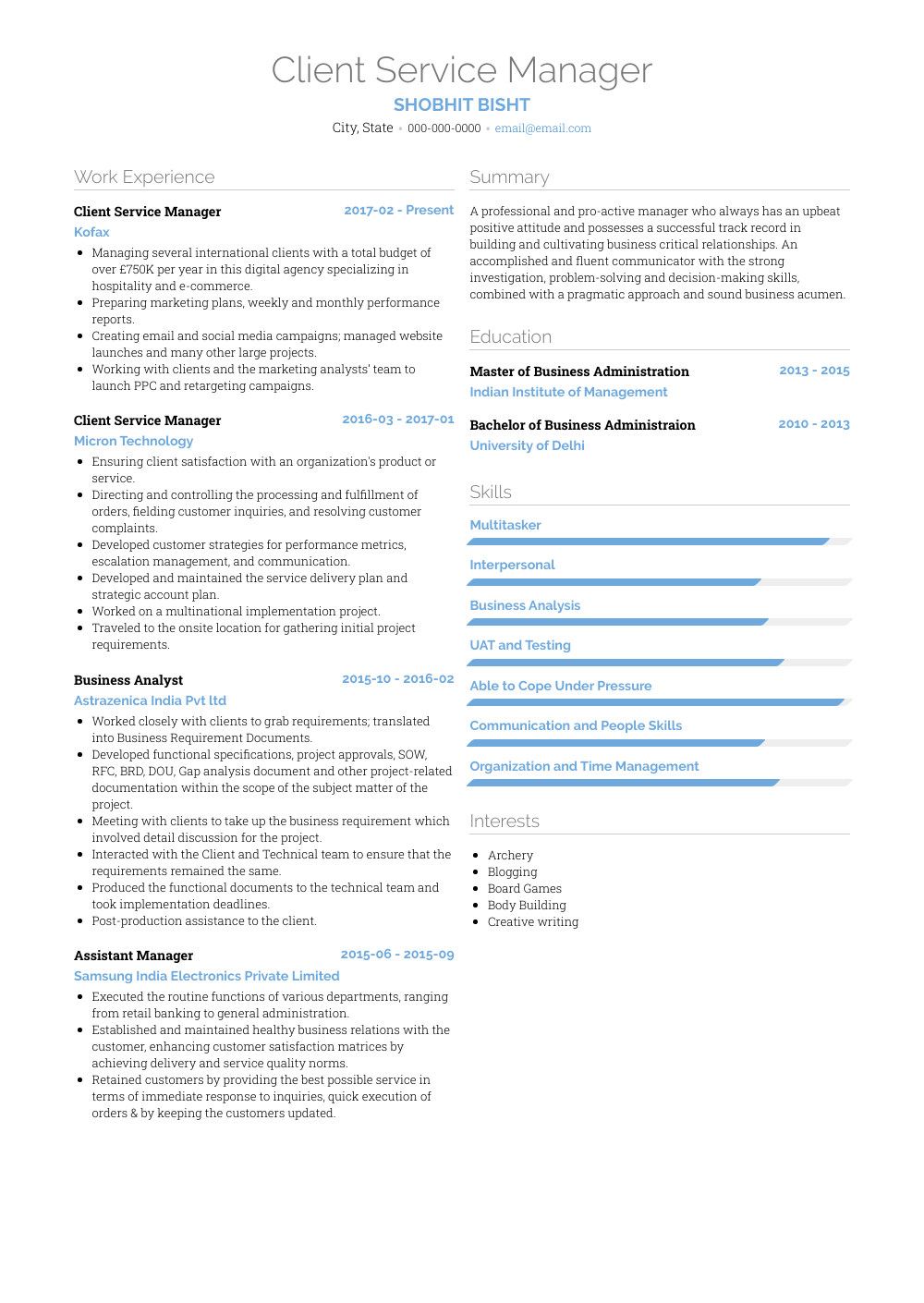 Client Service Manager Resume Sample and Template