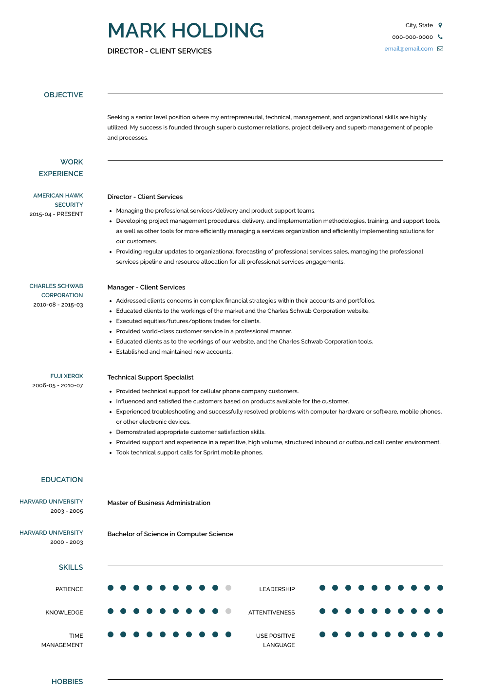 Client Services Resume Sample