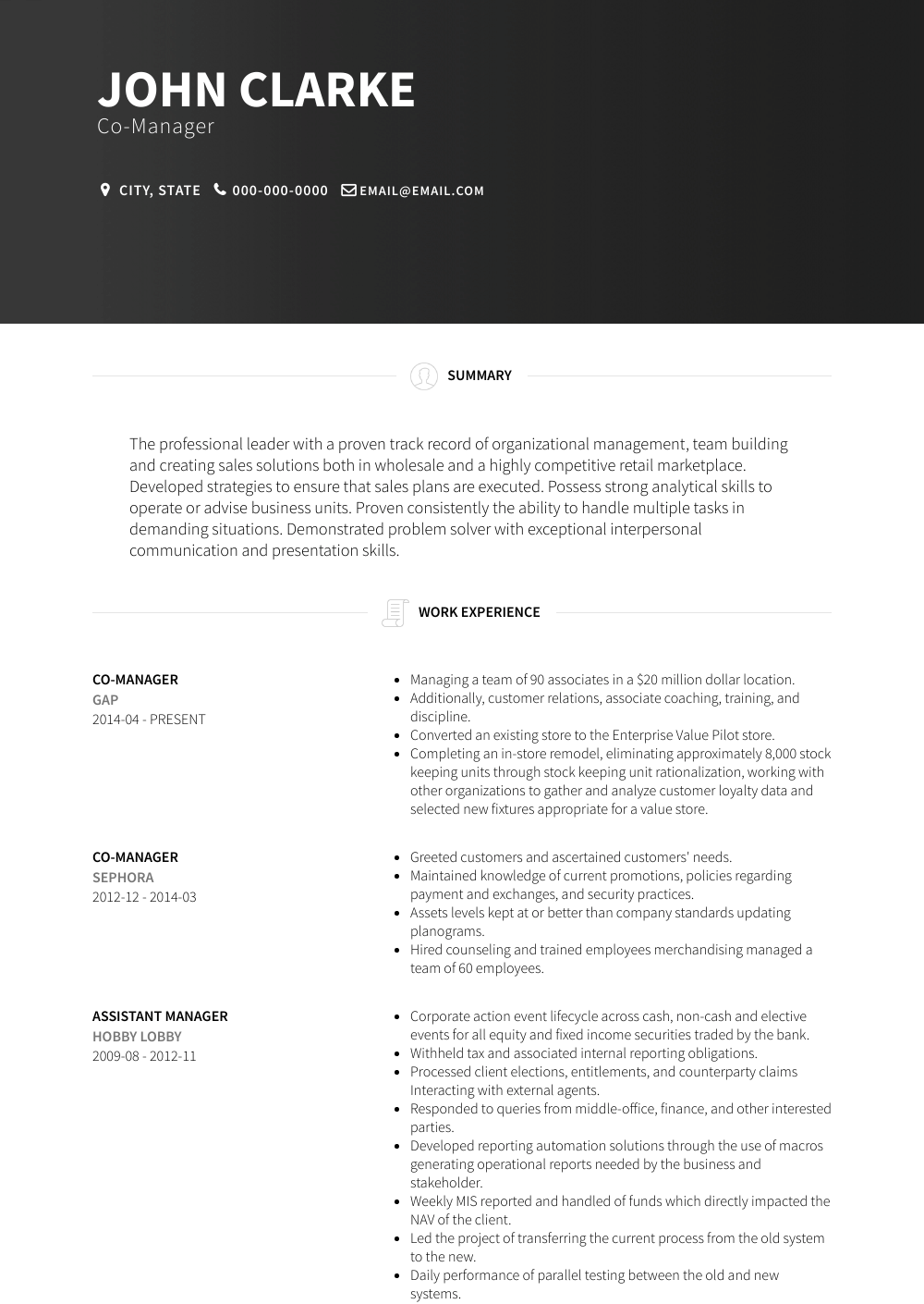 Co-manager - Resume Samples & Templates | VisualCV