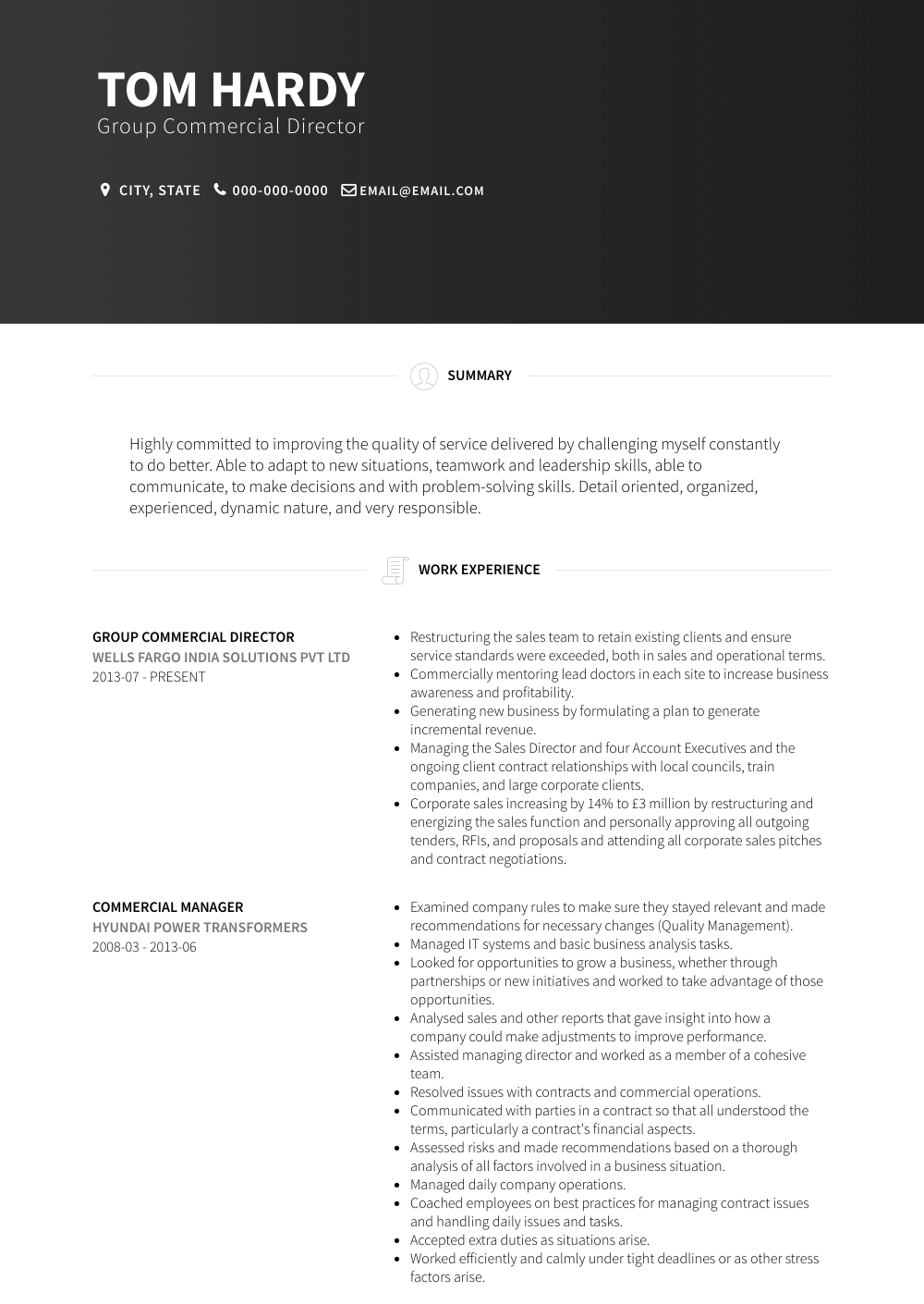 Group Commercial Director Resume Sample and Template