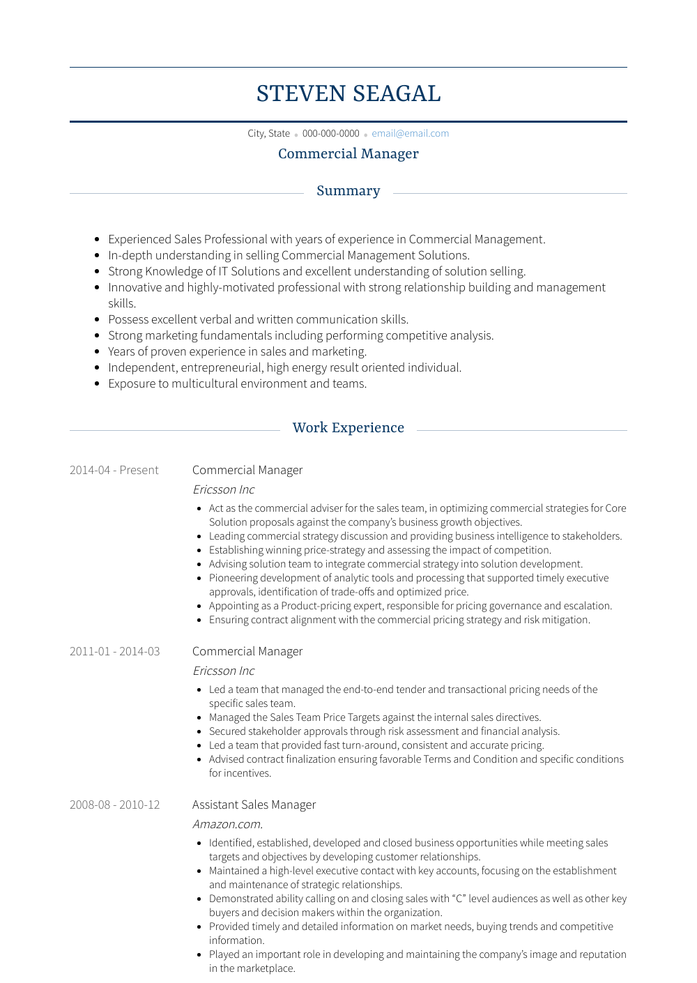 Commercial Manager Resume Sample and Template
