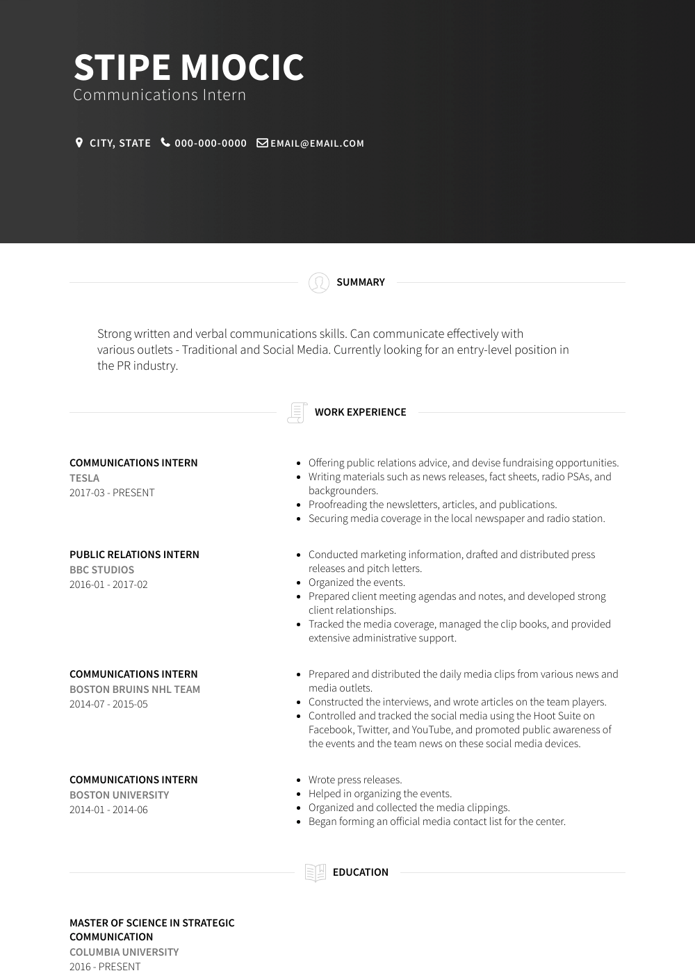 Communications Intern Resume Sample and Template