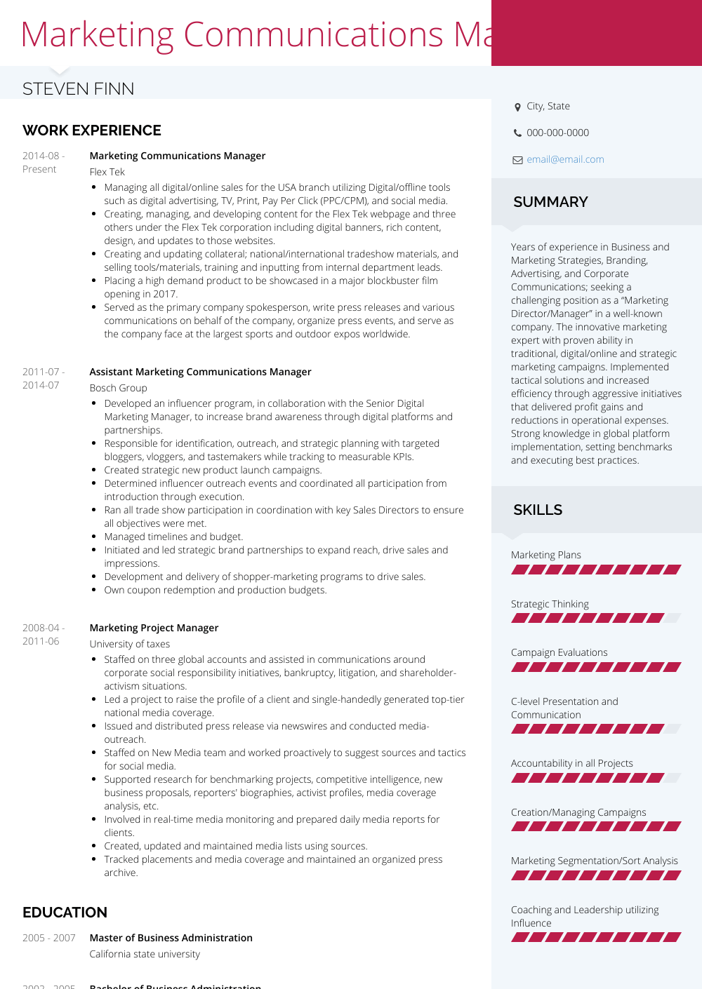 Communications Manager - Resume Samples and Templates | VisualCV