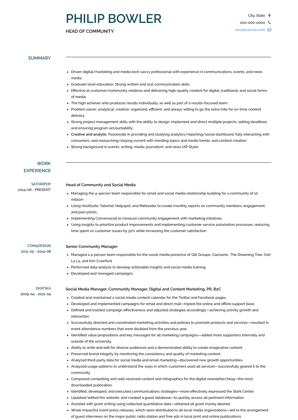 Head Of Community Resume Sample and Template
