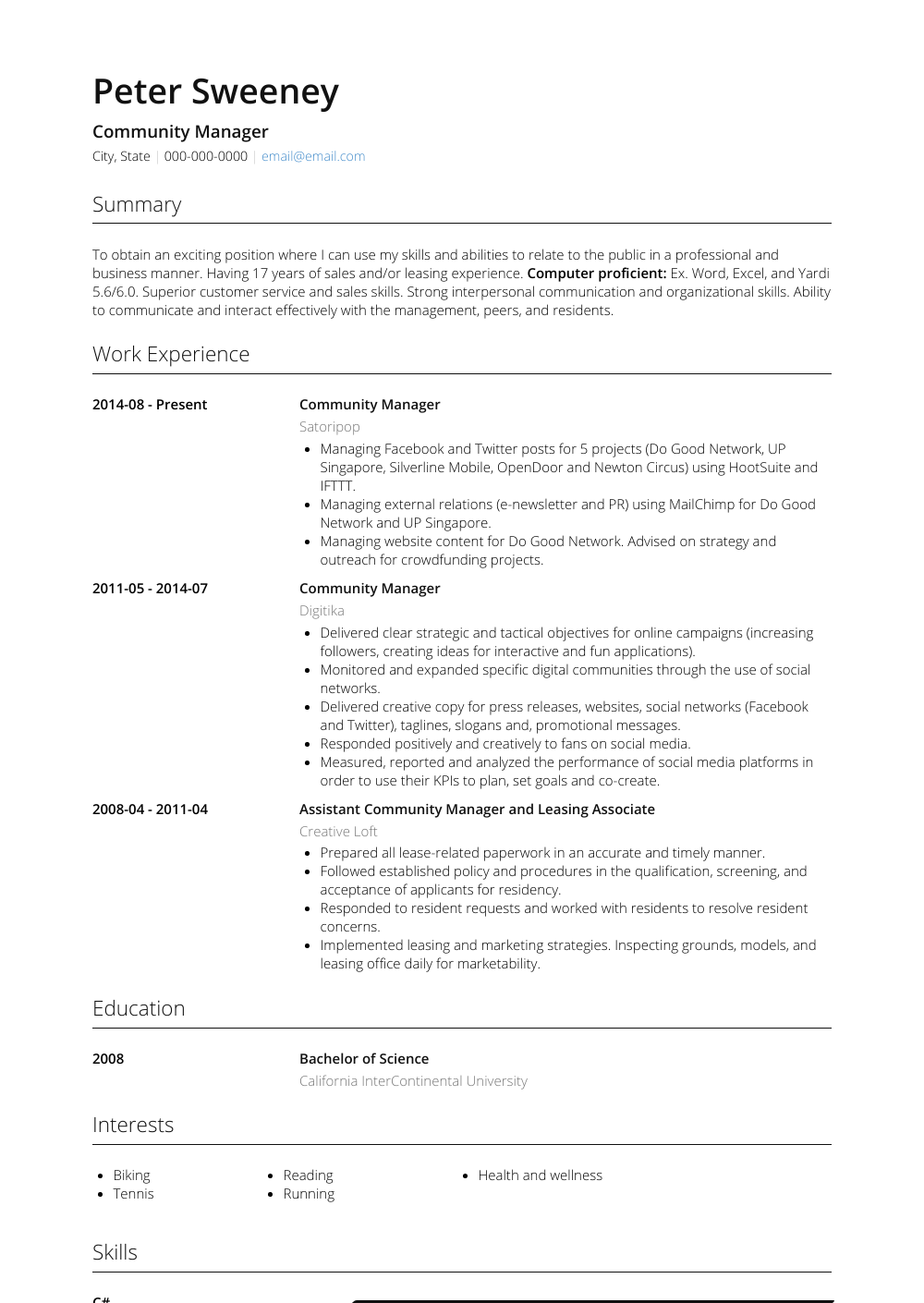 Community Manager Resume Sample and Template