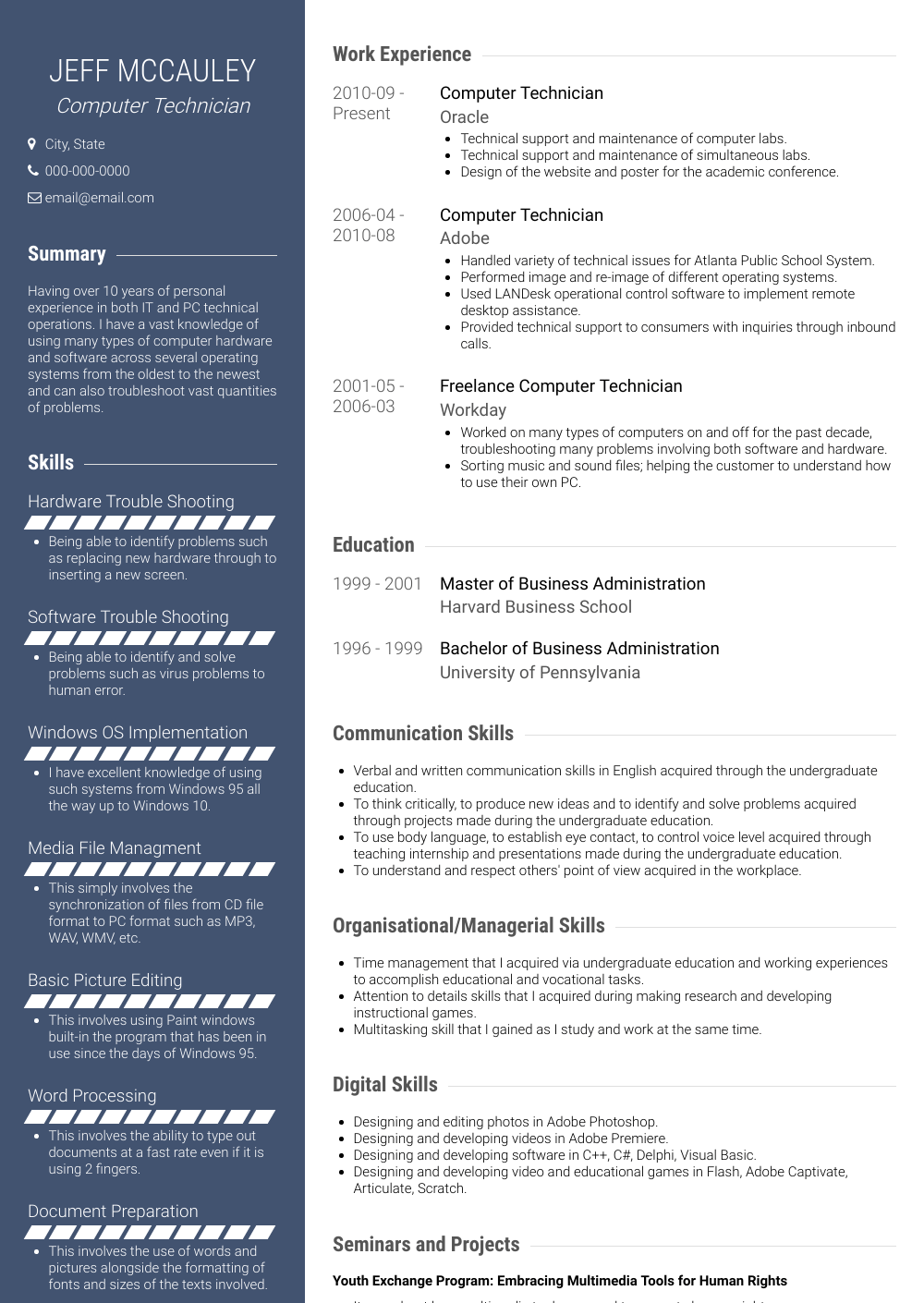 Computer Technician Resume Sample and Template
