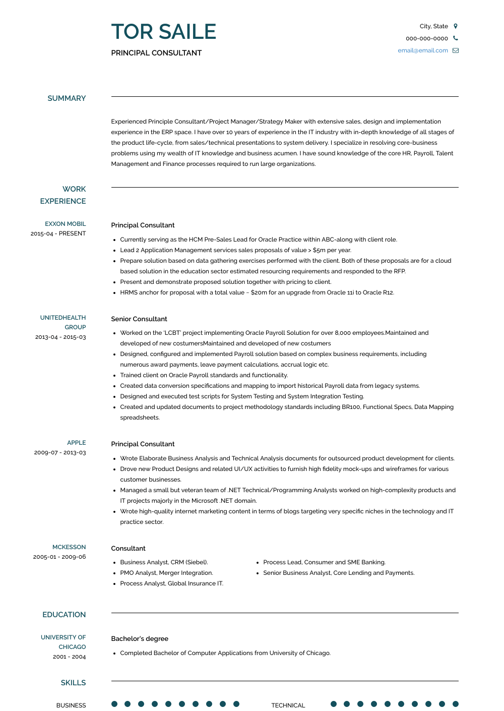 Consulting Resume Examples | Consulting Resume Samples Templates Visualcv
