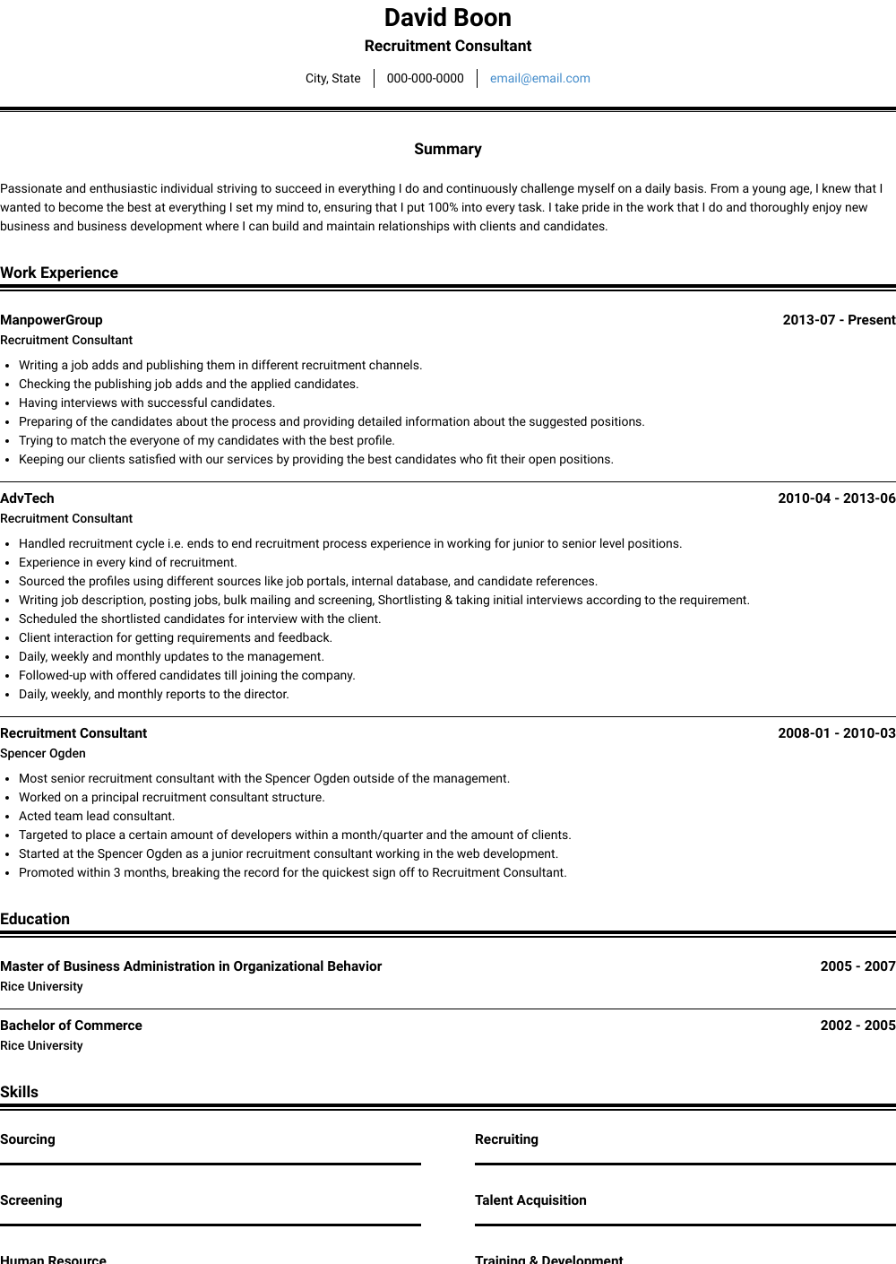 Consultor Resume Sample