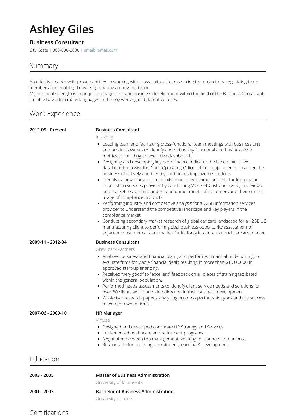 Consultor Resume Samples Templates Visualcv