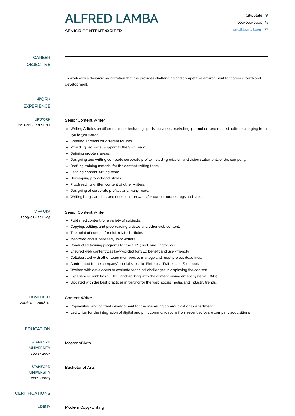content writer resume samples   1 resource for templates  u0026 skills